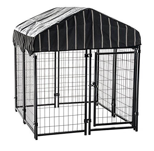 Heavy Duty Dog Cage - Lucky Dog Outdoor Pet Playpen - This Pet Cage is Perfect For Containing Small Dogs and Animals. Included is a Roof and Waterproof Cover (4'W x 4'L x 6'H) (Dog Outdoor compare prices)