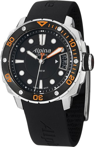Alpina Diver AL240LBO3V6 38mm Stainless Steel Case Black Rubber Anti-Reflective Sapphire Women's Watch