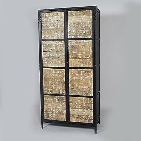 Armario Industrial Vintage 2puertas de madera | mim4367, Bois blanchi, 40