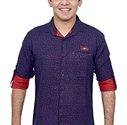 Ivory Men's Casual Cotton Shirt (2932-RED-XL)