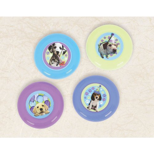 Amscan Adorable Party Pups Flying Disc, Blue/Green/Purple/Teal