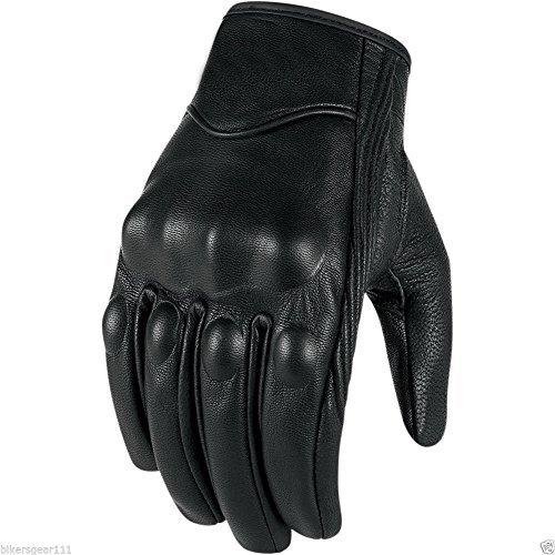 Corto Harley Cruiser in pelle nera con rivestimento termico, guanti impermeabile Hipora, Nero, L