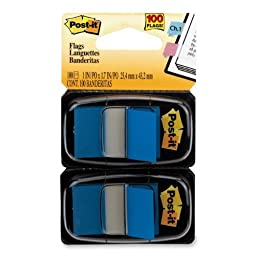 Post-it?« Flags, 1 Inch, Ideal For Marking and Flagging Paper Documents, Blue, 50 per Dispenser, Two Dispensers per Pack