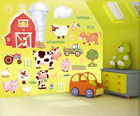 e-baby-store Large Farm Farmyard Wall, Furniture Stickers For Nursery, Childrens, Childs, Kids, Boys, Baby, Girls Bedroom, Playroom. Decals, Wallpaper, Adhesives, Murals, Stickarounds.