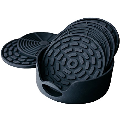 np-highly-absorbent-silicone-drink-coasters-set-of-6-black-with-holder-large-size-43-inch-that-fits-