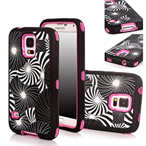 Matek(TM) For Samsung Galaxy S5 SV i9600 G900 Fashional Printed Hard Soft High Impact Hybrid Armor Defender Combo Case with 1 Screen Protector, 1 Matek Wristband and 1 Microfiber Cleaner from Matek