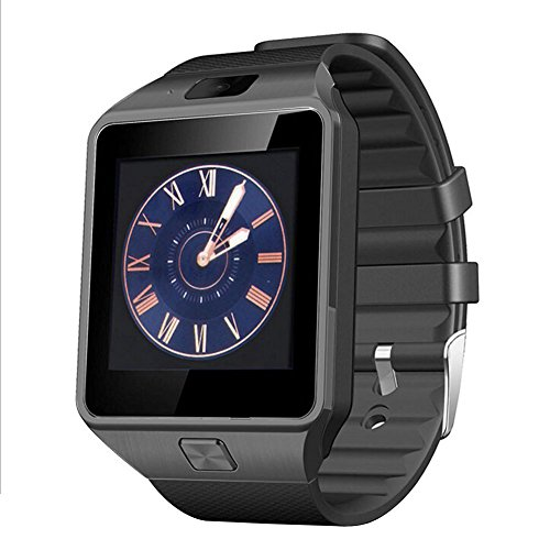 Padgene® Montre Connectée Bluetooth Smart Watch Montre Intelligente Bluetooth montre Smart Watch avec caméra pour Samsung S5 / S6 / S6 Bord / Note 2/3/4, Nexus 6, HTC, Sony et d'autres Android smartphones, Noir