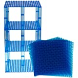 "Premium Clear Blue Stackable Base Plates 10 Pack 6"" X 6"" Baseplate Bundle With 80 Clear Blue Bonus Building Bricks..."