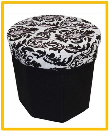 Jacquard Round Foldable Storage Stool Seat Chair Sofa Living Room Home Kitchen Toys Clothes Shoes