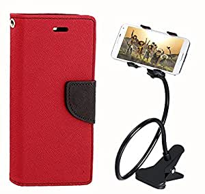 Aart Fancy Diary Card Wallet Flip Case Back Cover For Micromax E313 - (Red) + 360 Rotating Bed Tablet Moblie Phone Holder Universal Car Holder Stand Lazy Bed Desktop for by Aart store.