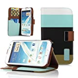 ATC Premium Folio Wallet Case for Samsung Galaxy Note 2 Note II N7100 (Blue+Black+Green)