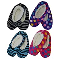 Zebra Striped Multi Color Polka Dot 4 Pair Pack Fleece Lined Slipper Socks