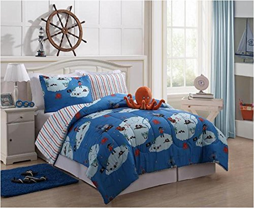 Boys Kids Bedding - Reversible Squid Bed In A Bag Multi-Color (Twin)