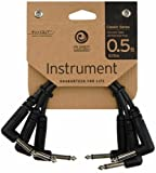 Planet Waves Classic Series Instrument Cable with Right Angle Plug, 0.5 feet (3-pack)