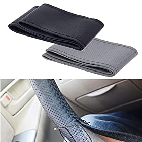 "Lemonbestu00ae Universal Leather Car Steering Wheel Cover Anti Slip Auto Car Stitch On Wrap Cover 15"" With Needle Thread (Grey)"