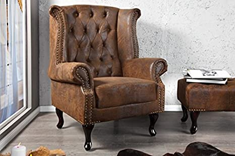 Chesterfield armchair brown antique look wing chair of the House Casa Padrino