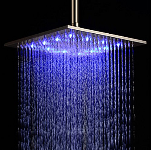 Rozin® 12-inch LED Color Bathroom Square Shower Head Rainfall Over-head Spray Brushed Nickel (Shower Head 12 Led compare prices)