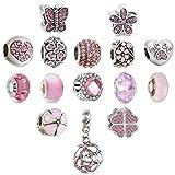 N'joy 16PC Assorted Crystal Rhinestone Charm Beads,Clap,Stoper,Dangle Pendant,Fit European Charm Bracelet,October Birthstone (Flower-Rose Pink)