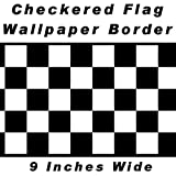 Checkered Flag Cars Nascar Wallpaper Border-9 Inch (Black Edge)