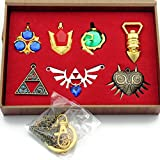 The Legend of Zelda Triforce Hylian Shield & Master Sword Keychain/necklace/ornament Collection (New 7PCS yellow)