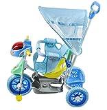 Dreirad-Kinderdreirad-Fahrrad-Baby-Kleinkinder-Dreirder-Schieber-Neu-2543-FarbeBlau