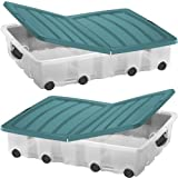 Pack of two Plastic Storage Boxes Underbed Box Container with wheels and folding lid - 55ltr -