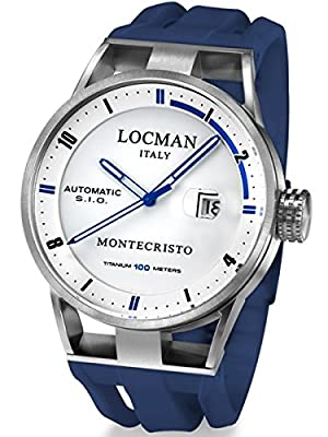 Locman Montecristo 100 Meter Automatic Watch with 44mm Stainless Steel and Titanium Case 511WHBLBL