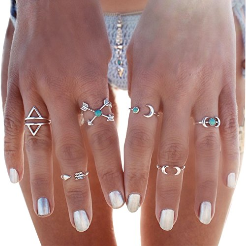 BeOne®6PCS Fashion Vintage Turkish Arrow Moon Turquoise Joint Knuckle Nail Midi Ring Set (Silver) (Silver Turquoise Ring compare prices)