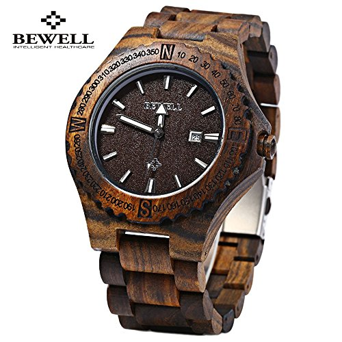 Bewell Men's Wooden Watch,Natural Maple Wood Japan Movement With Calendar Date Function Water Resistance
