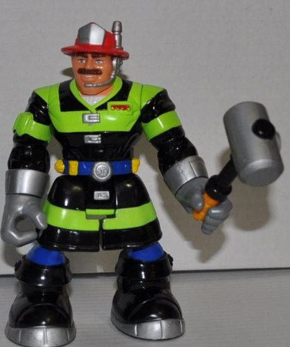 51QHH6BHivL Buy  Billy Blazes Firefighter (Green & Black Suit) & Hammer (Retired) Rescue Hero   Fisher Price Action Figure Non Violent Doll Toy