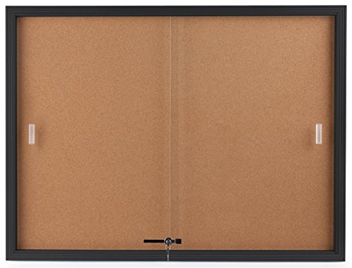 Displays2go Enclosed Cork Board, Sliding Glass Door, 4' x 3', Locking Bulletin Board for Wall (CBSD43BK) (Glass Door Bulletin Board compare prices)