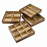 Stock Your Home Stackable Jewelry Trays Set of 4 with Dual Jewelry Organization, Jewelry Storage Functionality