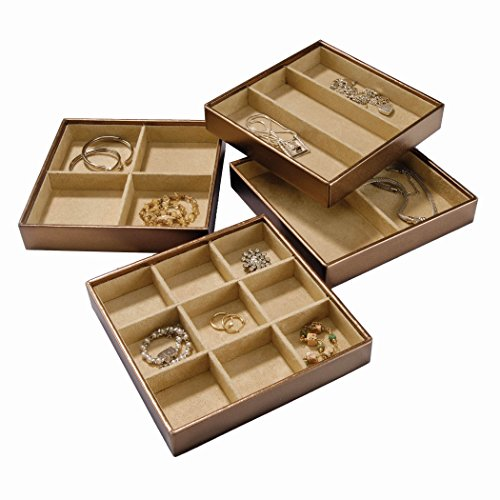 Stock Your Home Stackable Jewelry Trays Set of 4 with Dual Jewelry Organization, Jewelry Storage Functionality (Jewelry Drawer Organizer Tray compare prices)
