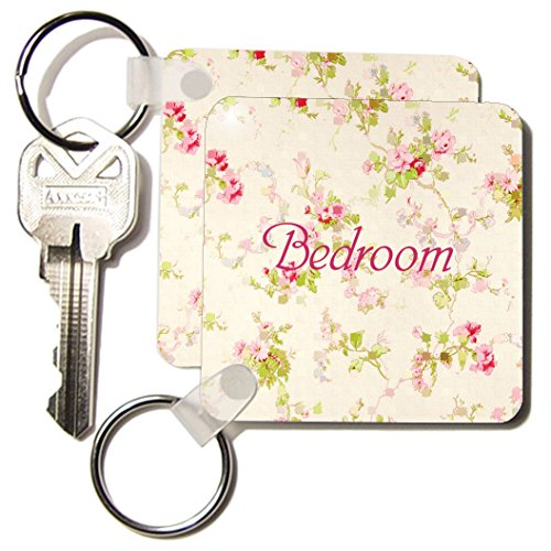 Kc_171619_1 Florene Decorative Ii - Image Of Shabby Chic Flowers With Word Bedroom - Key Chains - Set Of 2 Key Chains front-1069123