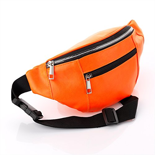 Allsorts® Neon Orange Faux Leather Bum Bag. Ideal for Holidays