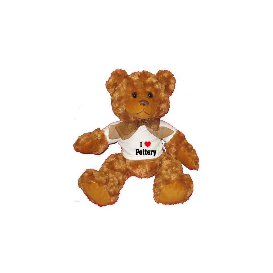 I Love/Heart Pottery Plush Teddy Bear with WHITE T Shirt
