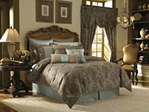 Croscill Home Laviano 4-Piece Comforter Set, Aqua, King