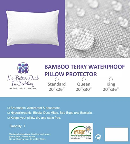 New Bamboo Terry Pillow Protector Cover - 100% Waterproof - Queen Size (1) - Premium Zippered encase...