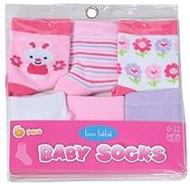 Bon Bebe 6 pack Infant Socks Gift Set - Boy/Girl Designs (0-12 Months)-Girl-Bunny