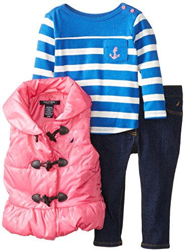Nautica Baby-Girls Infant 3 Piece Puff Vest And Denim Pant, Pink, 18 Months
