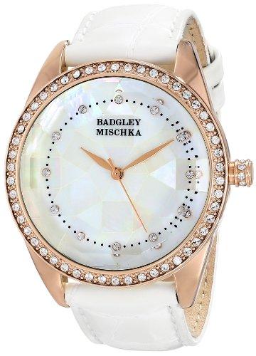 badgley-mischka-womens-ba-1334wmrg-swarovski-crystal-accented-rose-gold-tone-white-leather-strap-wat