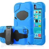 Asstar iPod Touch 6 Case, iPod Touch 5 Case, Extreme Heavy Duty Shock-Proof Belt Clip Case Cover Hybrid Hard Kickstand Cover for Apple ipod Touch 5 6th Generation (! Blue)