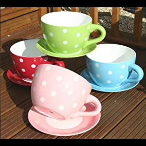 Botanico Cup And Saucer Planter Polka Dot Garden Outdoors