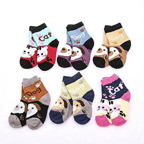 SDBING Super Warm Baby Fuzzy Soft Thick Socks Animal 6 pairs 1-3 Year old