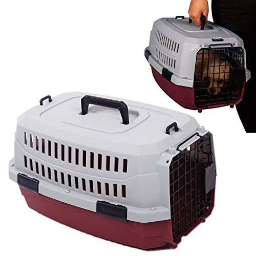 Favorite ® 19 Inch by 12.5 Inch by 10 Inch Portable Airline Approved Dog Crate/Pet Carrier/Outdoor Kennel for Small Dogs/Cats Air Travel/Car Travel/Vet Visit in Red, for Pets up to 10 lbs