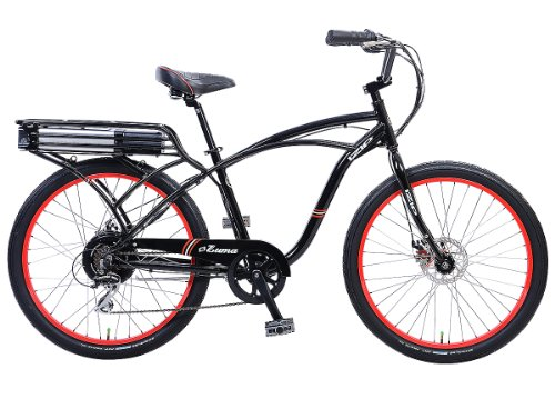 IZIP E3 Zuma Mens Beach Cruiser Electric Bicycle - Cantilever Frame Large - Black