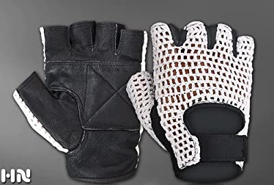 White Mesh Black Leather Weight Lifting Padded Gloves Fitness Training Cycling Gym Sports Body Building by KANGO FITNESS