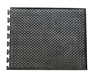 """Rubber-Cal """"Foot-Rest"""" Interlocking Anti-Fatigue Floor Mat - 1/2inch x 28inch x 31inch - End Tile"""