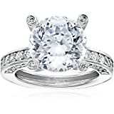 """Platinum Plated Sterling Silver """"100 Facets Collection"""" Solitaire Cubic Zirconia Ring with Channel-Set Cubic Zirconia Accent (6 cttw)"""