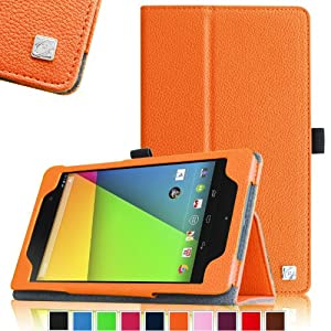 Fintie Folio Case for Google Nexus 7 FHD 2nd Gen 2013 Android Tablet Slim Fit With Auto Wake / Sleep Feature - Orange